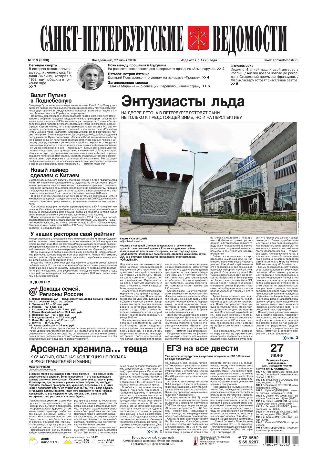 Редакция газеты Санкт-Петербургские ведомости Санкт-Петербургские ведомости 113-2016