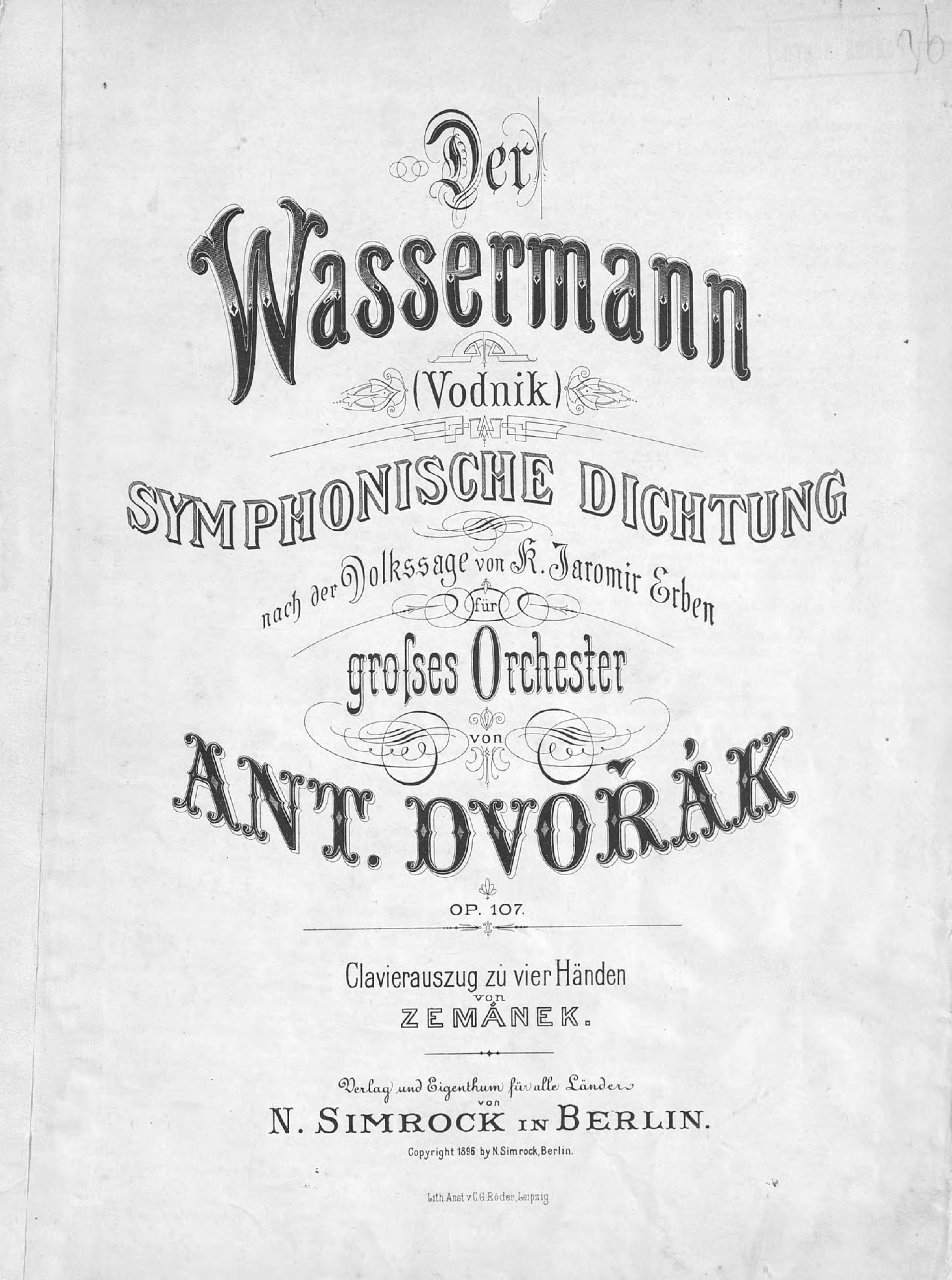 Антонин Дворжак Der Wassermann антонин дворжак лужанская месса ре мажор