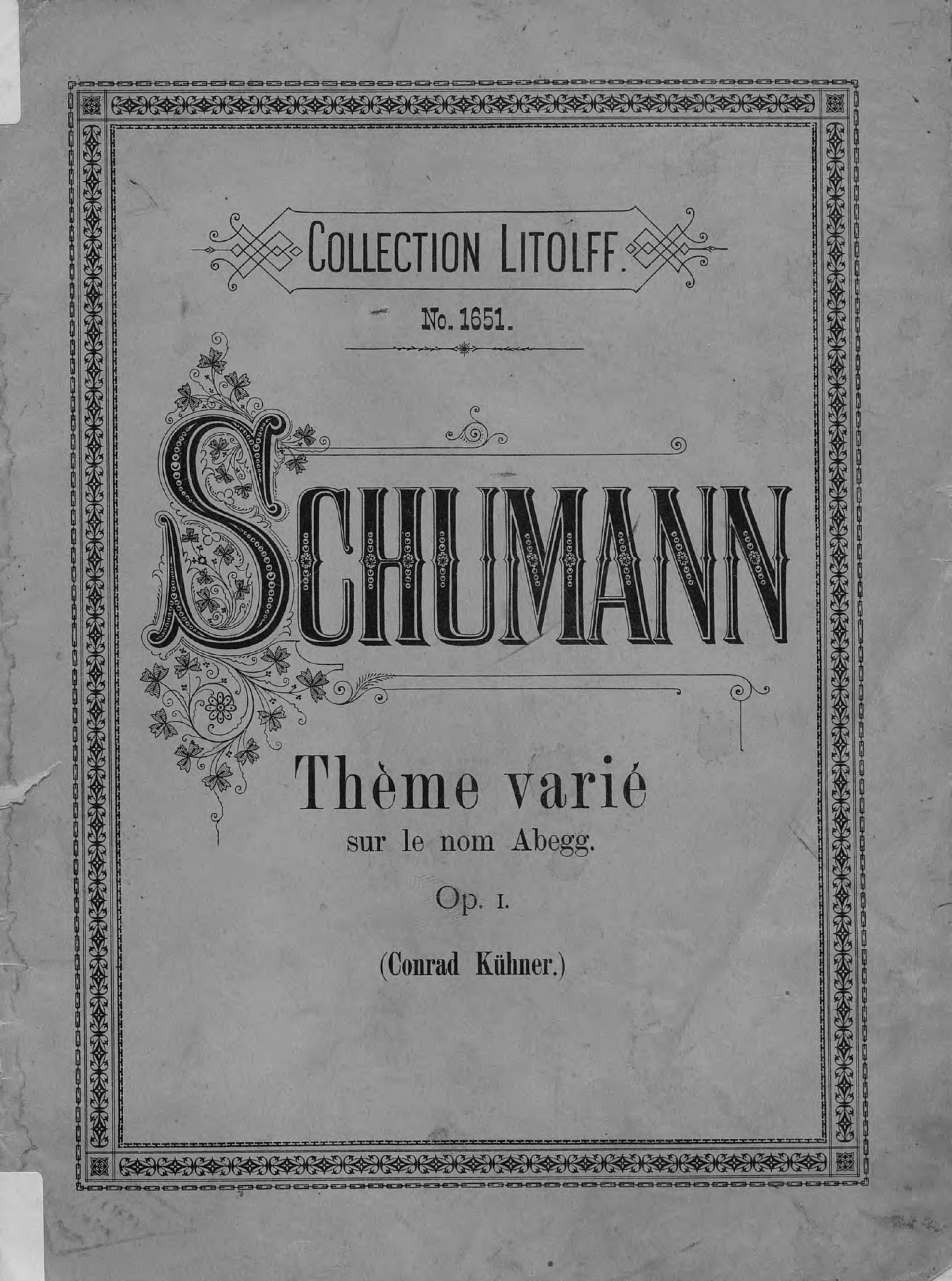 Роберт Шуман Theme varie sur le nom Abegg c chaminade theme varie op 89