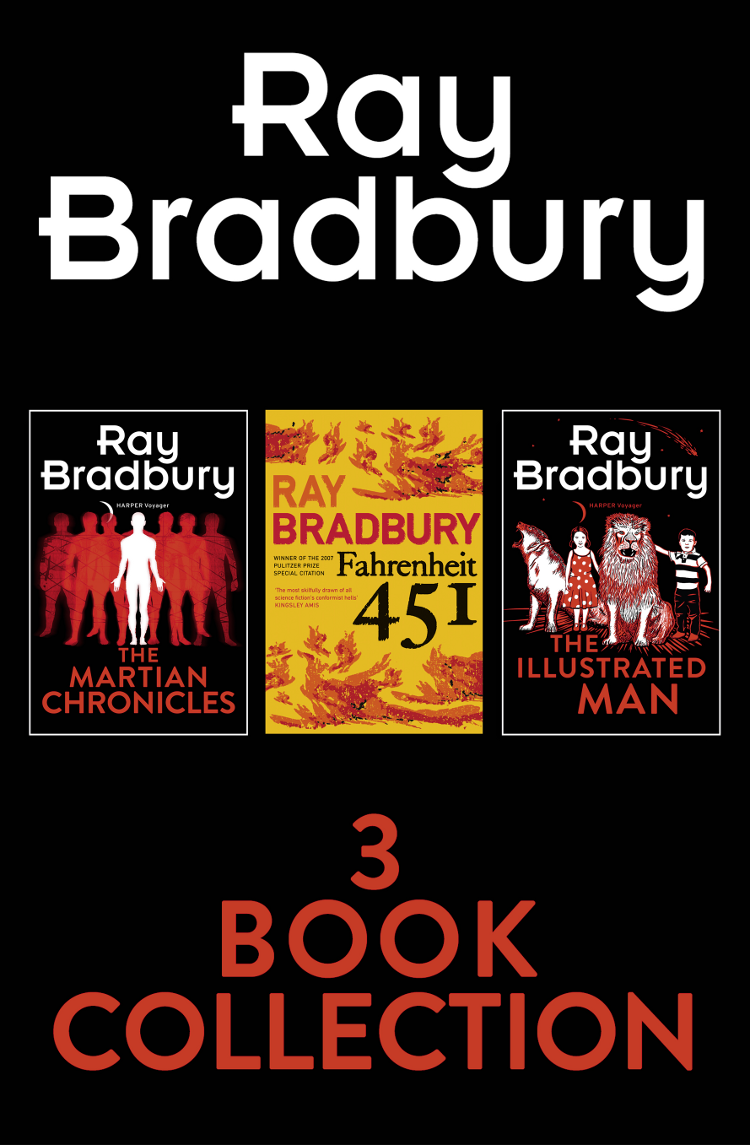 Рэй Брэдбери Ray Bradbury 3-Book Collection: Fahrenheit 451, The Martian Chronicles, The Illustrated Man stars above a lunar chronicles collection