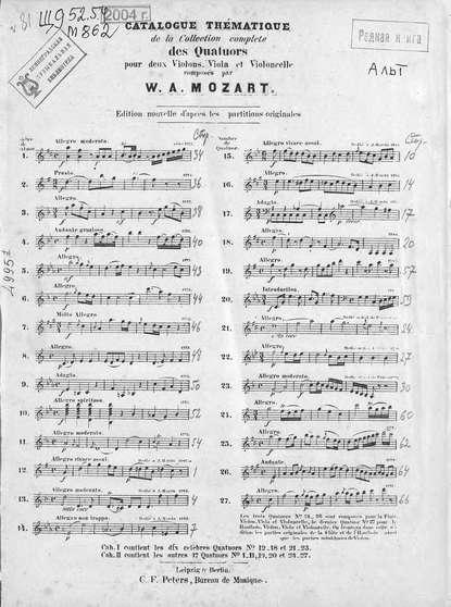 Вольфганг Амадей Моцарт Collection de quatuors pour 2 violons, viola et violoncelle par W. A. Mozart w a mozart symphony no 40 41