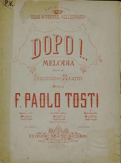 Франческо Паоло Тости Dopo! петрарка франческо стихотворения триумфы поэма