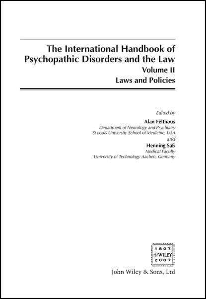 Alan Felthous The International Handbook on Psychopathic Disorders and the Law ulrike schmidt handbook of eating disorders